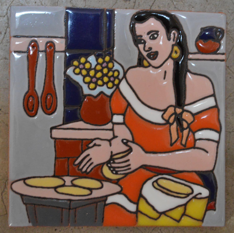 Azulejos mexicanos pintado a mano mujer haciendo tortillas - Azulejos de segunda mano ...