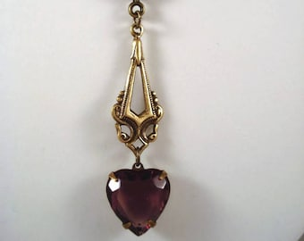 Purple Heart Necklace Victorian Necklace Valentine's Day Jewelry Purple  Heart Jewelry Gift For Her Vintage Inspired
