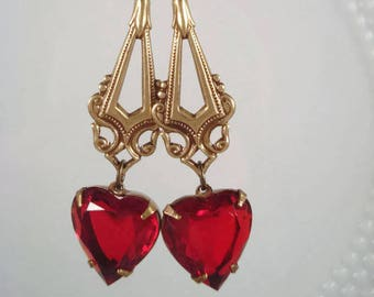 Red Heart Earrings Victorian Earrings Valentine's Day Jewelry Vintage Heart Earrings Romantic Gift For Her