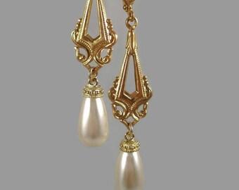 Pearl Earrings Art Deco Earrings Wedding Earrings 1920's Inspired Jewelry Gift For Mom
