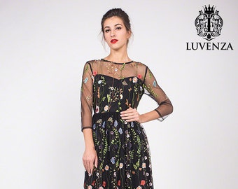 871da03e34 Three Quarter Sleeve Floral Embroidered Tulle Evening Gown - Black Floral  Lace Prom Dress-Embroidered Lace Evening Dress Maxi Dress C10