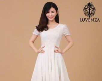 White Lace Dress - Lace Chiffon Mini Dress - Fit And Flare Lace Dress - Little White Dress - White Midi Dress - AS2