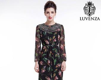 c5baf9d0b55 Black Chiffon Colorful Bird Print Maxi Evening Dress Floor Length Floral  Prom Dress  Sheer Long Sleeves A Line Silhouette Cocktail Dress D38