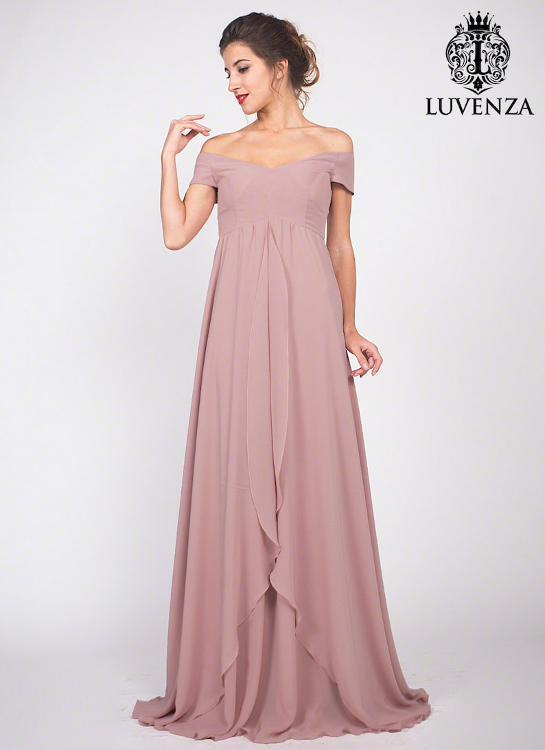 966ee7f41418 Rose rosa cipria Maxi Dress in Chiffon damigella d onore