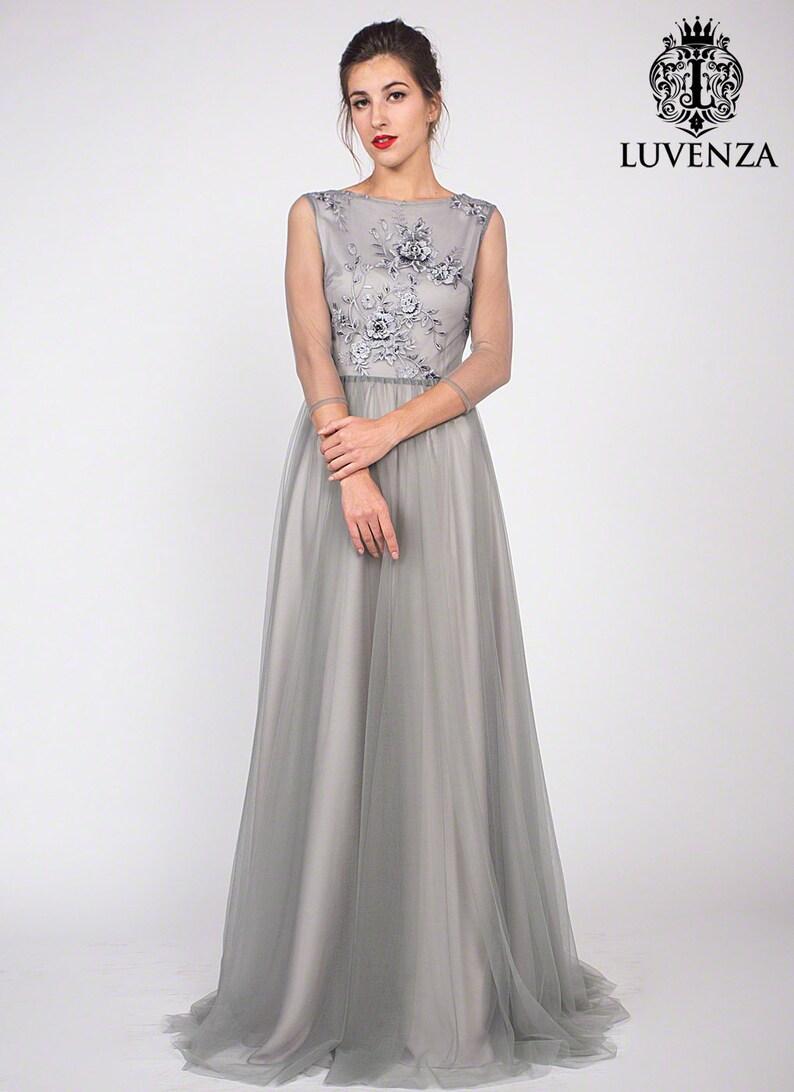 4ad161ce82 Koronkowa sukienka szary szary koronki Prom Dress szary