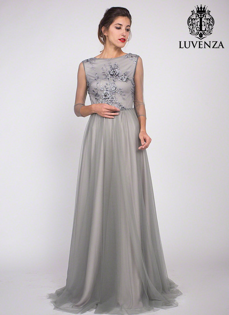 a68717feab0 Gray Lace Prom Dress Long Sleeve Grey Lace Prom Dress Gray