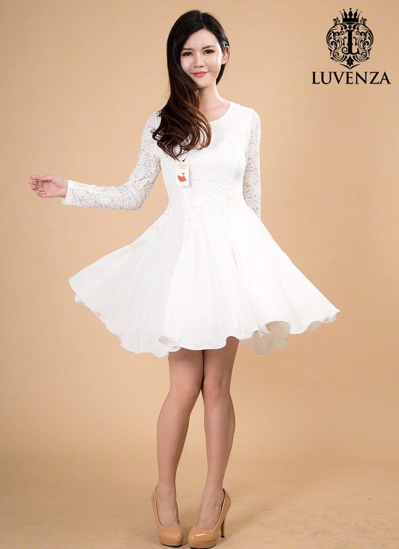 c65b1dc3322f White Lace Chiffon Dress / Little White Dress / White Fit and | Etsy
