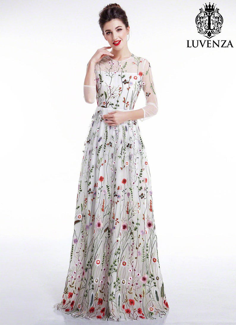 0682323f8c White Tulle Colorful Floral Embroidery Maxi Evening Dress
