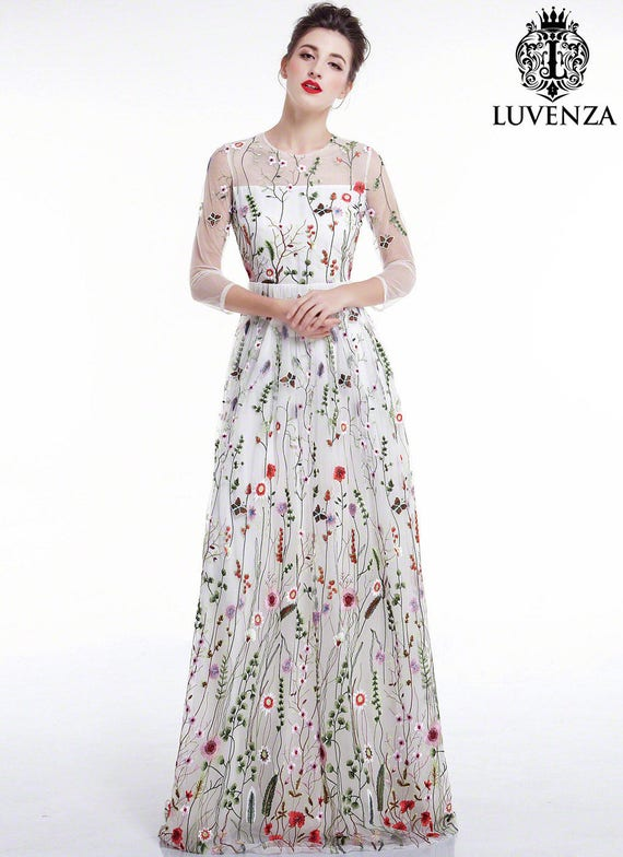 White Tulle Colorful Floral Embroidery Maxi Evening Etsy