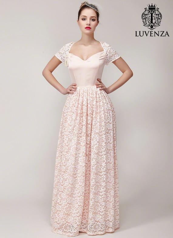 Light Pink Lace Evening Dress / Light Pink Lace Prom Dress / | Etsy