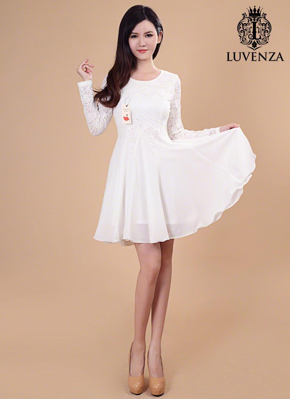 Weiße Spitze Chiffon Kleid / wenig weiß Langarm Kleid / weiß