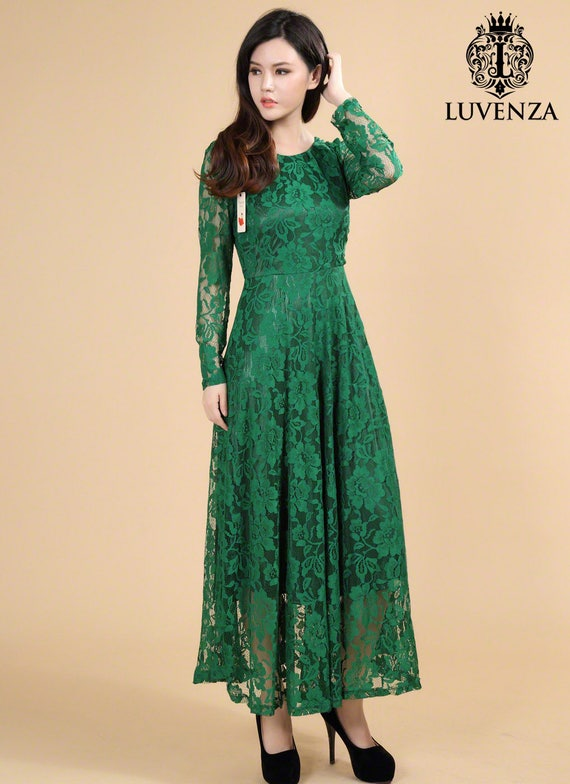 Lace Maxi Dress Lace Prom Dress Green Lace Maxi Dress Etsy