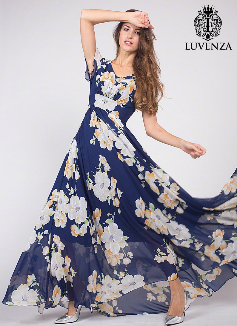 248124f40ad4d3 Dark Blue Floral Maxi Dress V Neck Floral Prom Dress