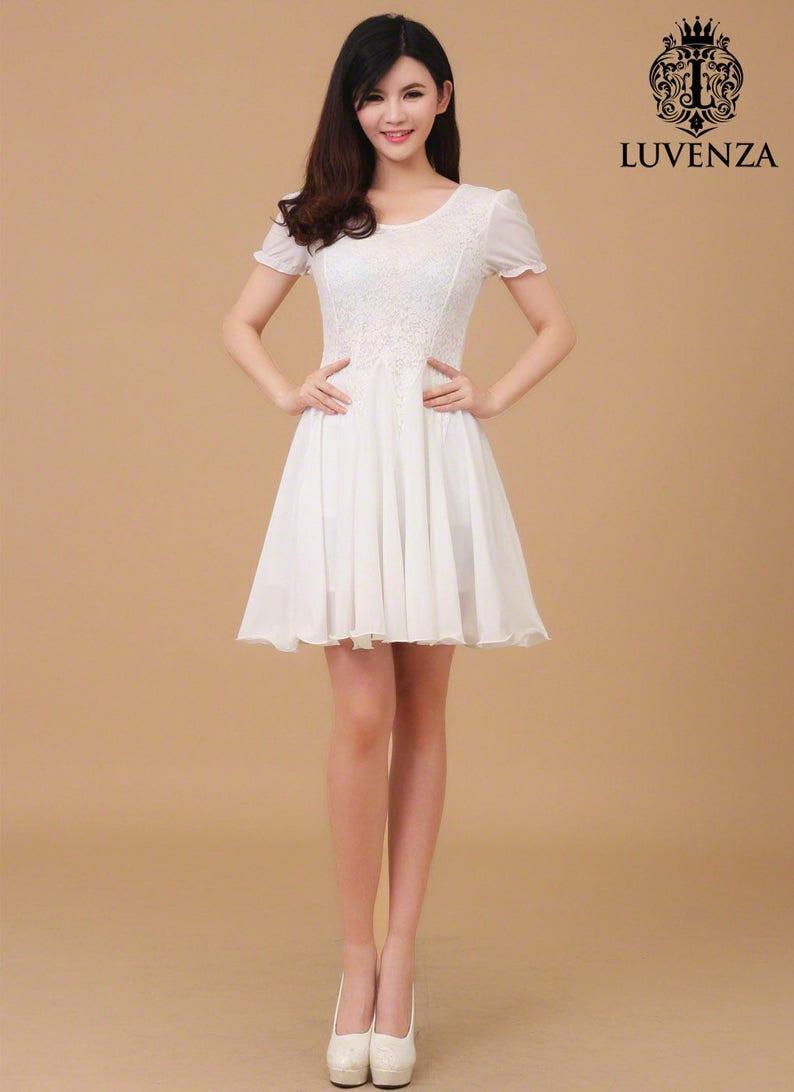 3eaa4de7379bd Blanc dentelle robe mousseline de soie Mini robe en dentelle