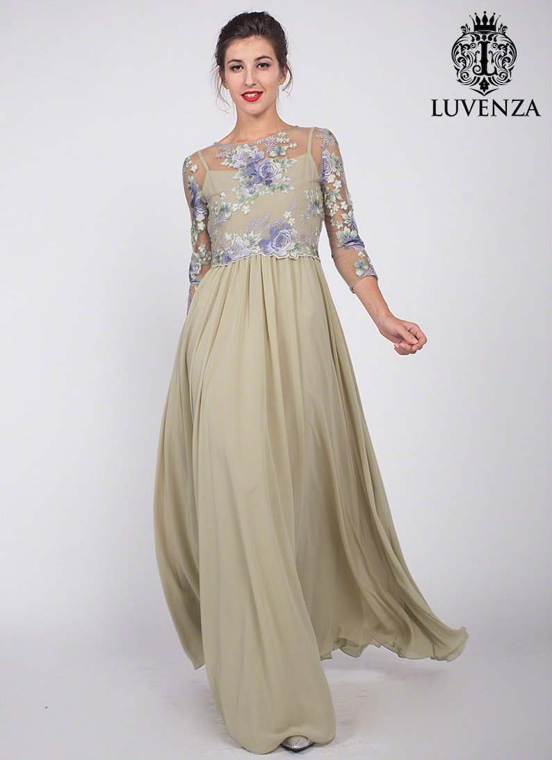 7a8d9cb2455e Handmade Light Green Floral Embroidered Tulle Chiffon Evening | Etsy
