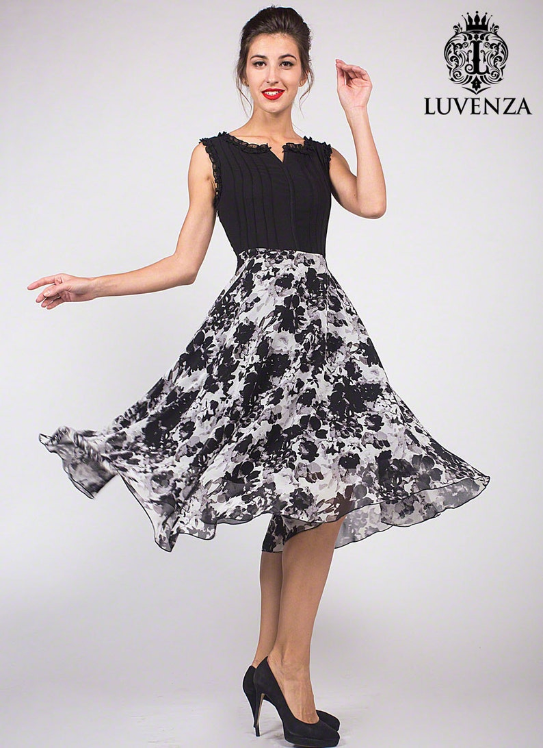 7cc772736 Black Floral Mini Dress with Pleated Top and Vented Neck Ink