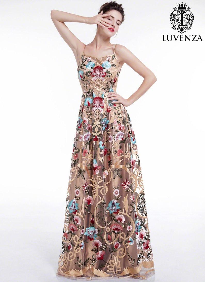 02ebfba89f85 Golden Spaghetti Strap Floral Embroidery Maxi Evening Dress/   Etsy
