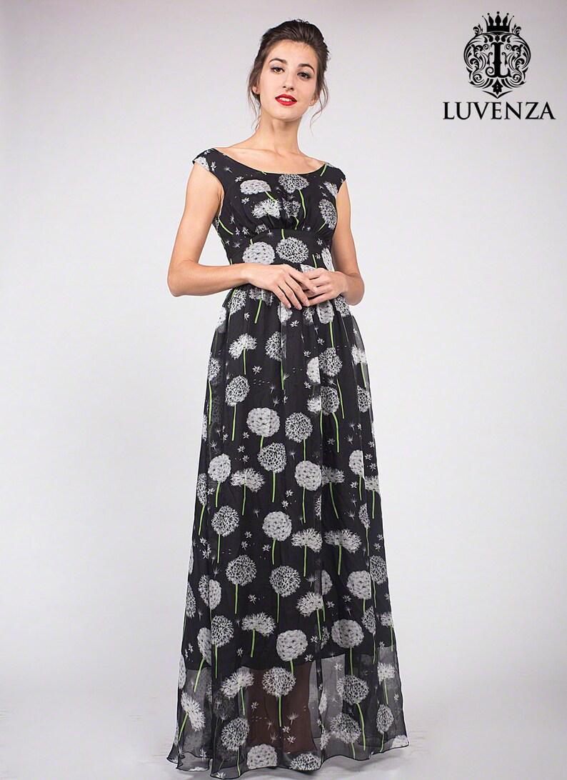 935467b43c6104 Zwarte bloemen Maxi jurk Floral avondjurk zwarte bloemen