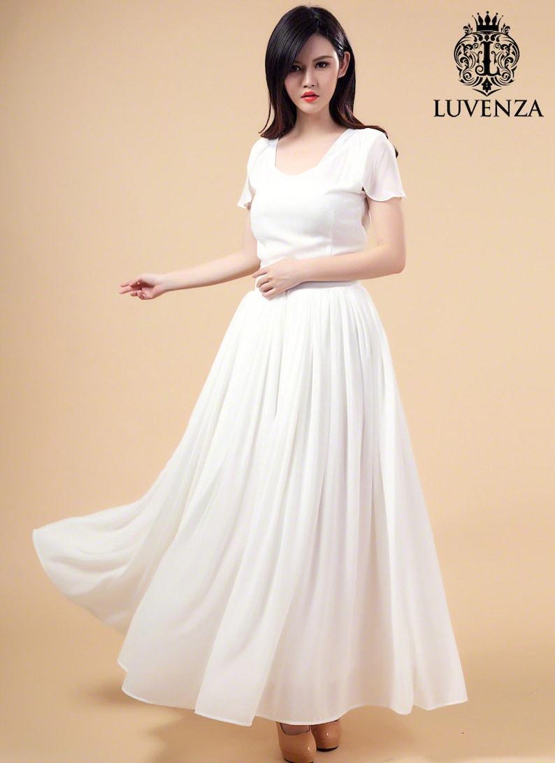 White Evening Dress Chiffon Maxi Dress V Neck Maxi Dress with V Back Prom Dress -Long Prom Dress Wedding Dress A194 White Maxi Dress