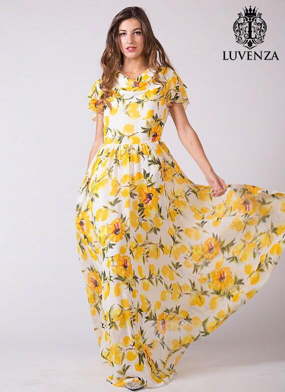 Gelbe Blumen Maxi-Kleid Zitrone Floral Abendkleid Zitrone