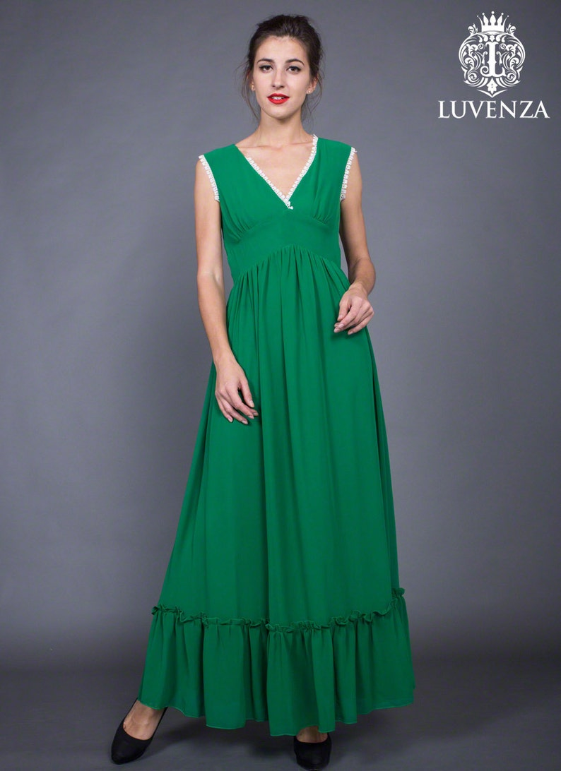 09819d75383 Sleeveless Green Prom Dress with V Neck V Neck Green Maxi