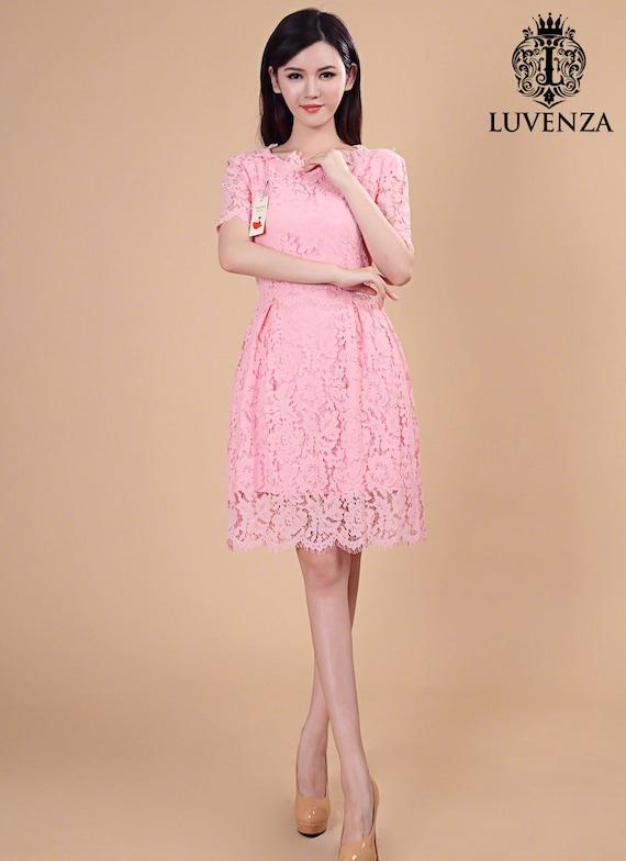 0e8c6f5df1a Lace Peplum Dress with Scalloped Hem and Eyelash Details