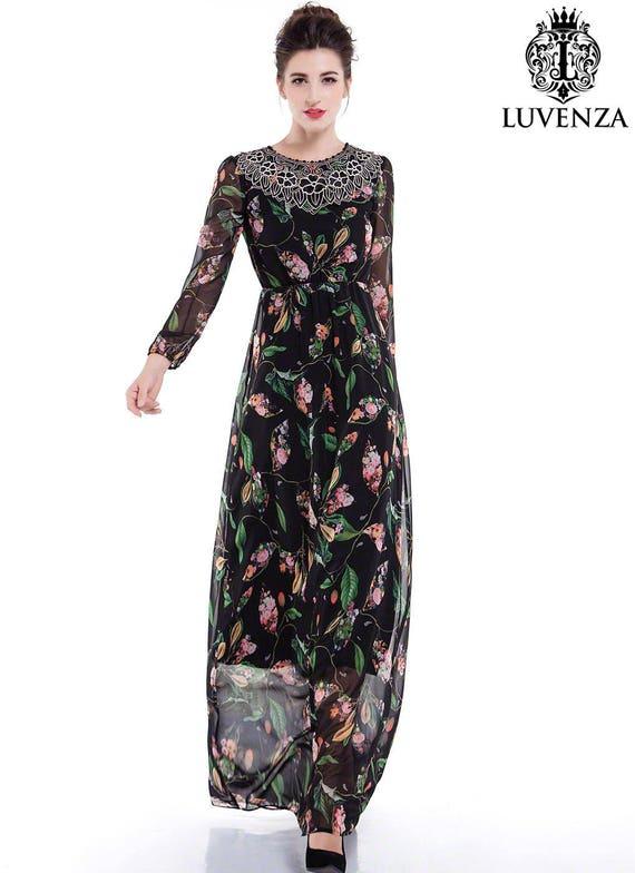 0f796a095e Black Chiffon Colorful Bird Print Maxi Evening Dress Floor