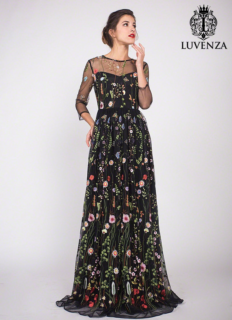 9e8653dd400 Three Quarter Sleeve Floral Embroidered Tulle Evening Gown