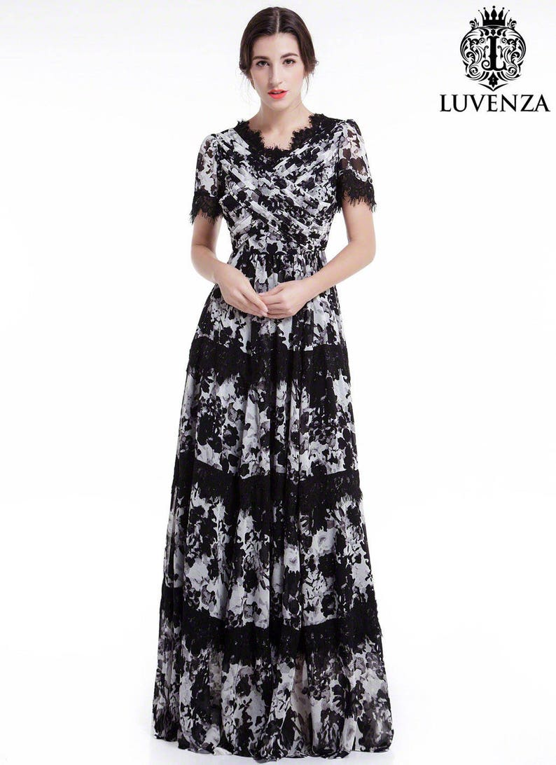3973b8c451c0 Black and White Chiffon Maxi Length Evening Dress with Lace