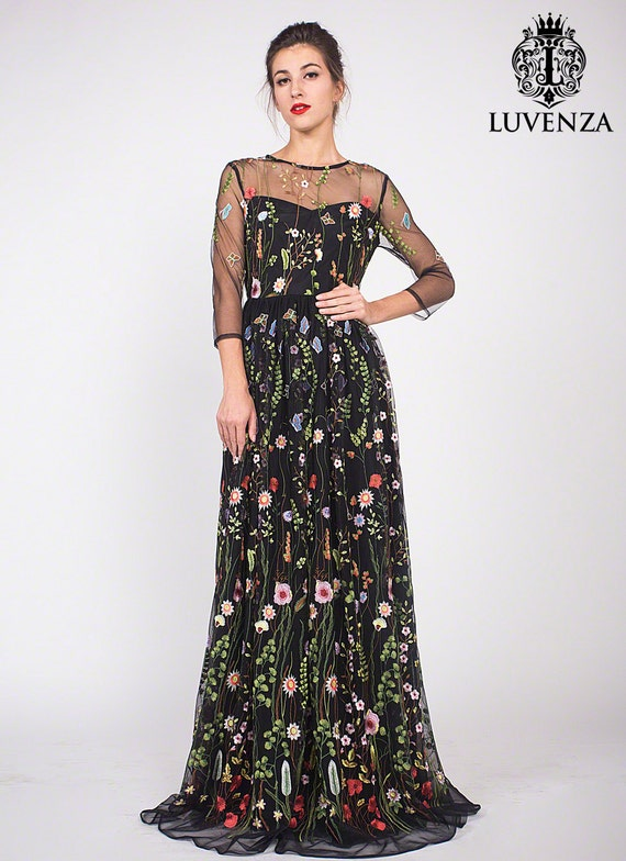 Three Quarter Sleeve Floral Embroidered Tulle Evening Gown Black Floral Lace Prom Dress Embroidered Lace Evening Dress Maxi Dress C10