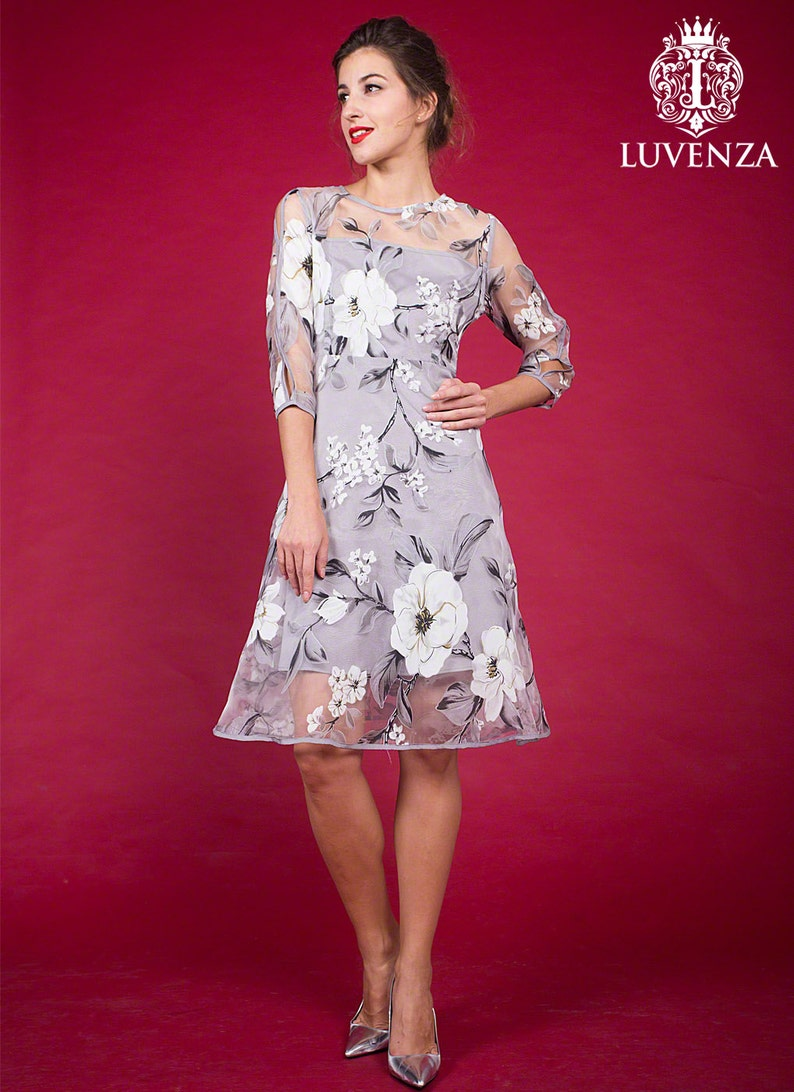 e61347f425d Organza gris clair Aline Mini robe avec trois quarts manches