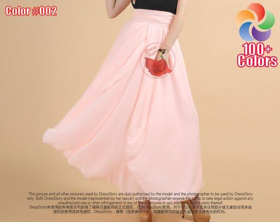 Light Pink Maxi Skirt Baby Pink Chiffon Maxi Skirt With Etsy