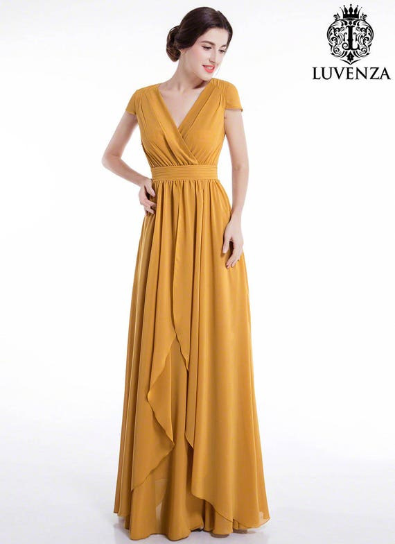 Mustard Yellow Maxi Length Evening Dress With Crossover Etsy