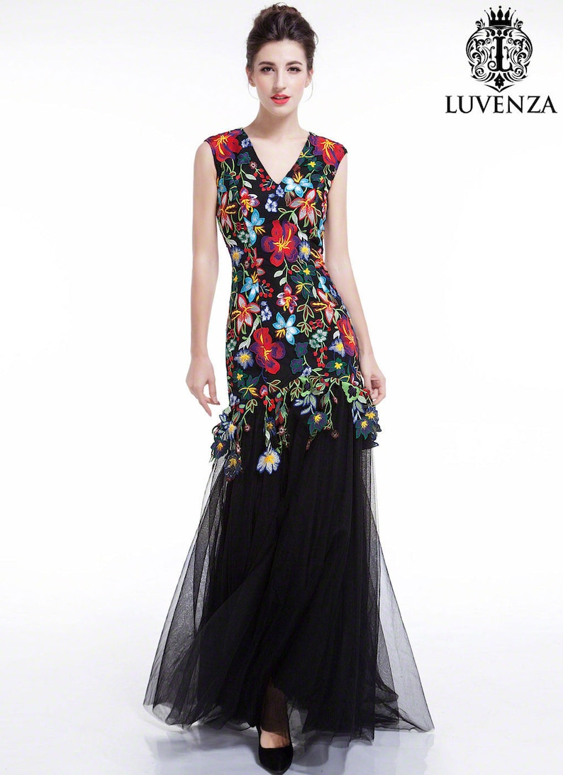 be61a32b5935 Colorful Floral Embroidery Black Maxi Evening Dress  Floor