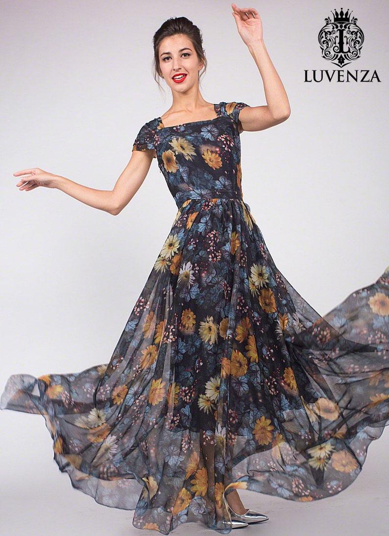 a2185167ab1031 Zwarte bloemen Maxi jurk met vierkante hals taille juk avond