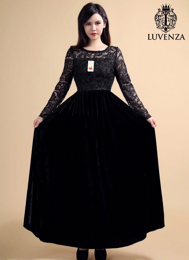 4bbb4c5a1f Długa rękawowa koronka i aksamitna sukienka maxi-purpurowa