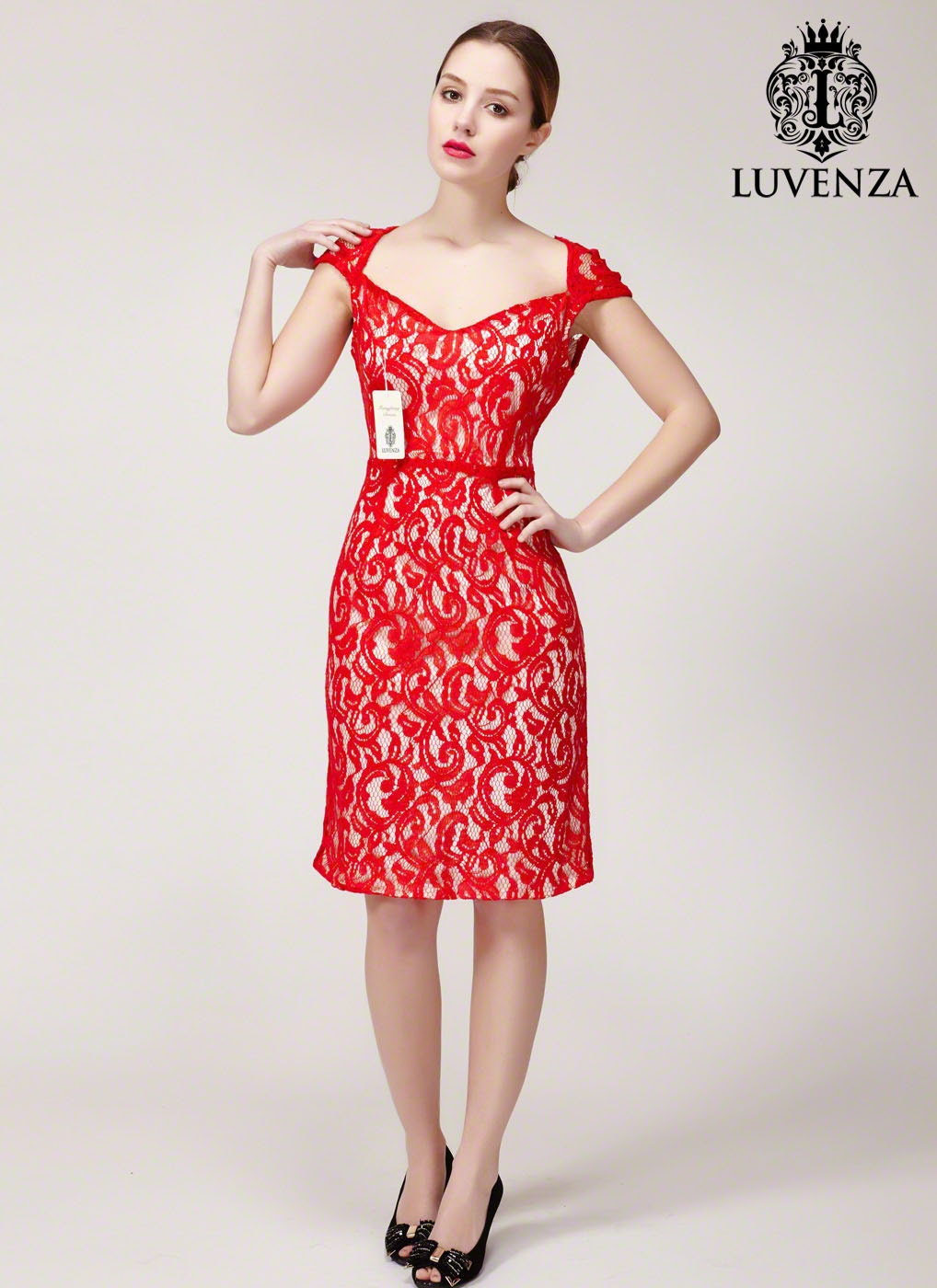 61c4b0b6a1b Red Cocktail Dress Cap Sleeves
