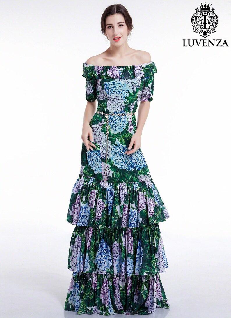 06f3ea7e494e Chiffon Blue Purple Green Floral Print Maxi Fit and Flare
