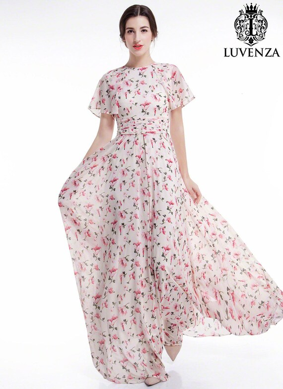 Dusty Rose Pink Chiffon Floral Maxi Evening Dress Floor Etsy