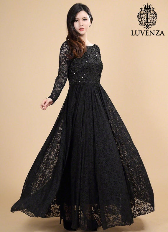 Open Back Black Lace Maxi Dress Long Sleeve Maxi Dress Etsy