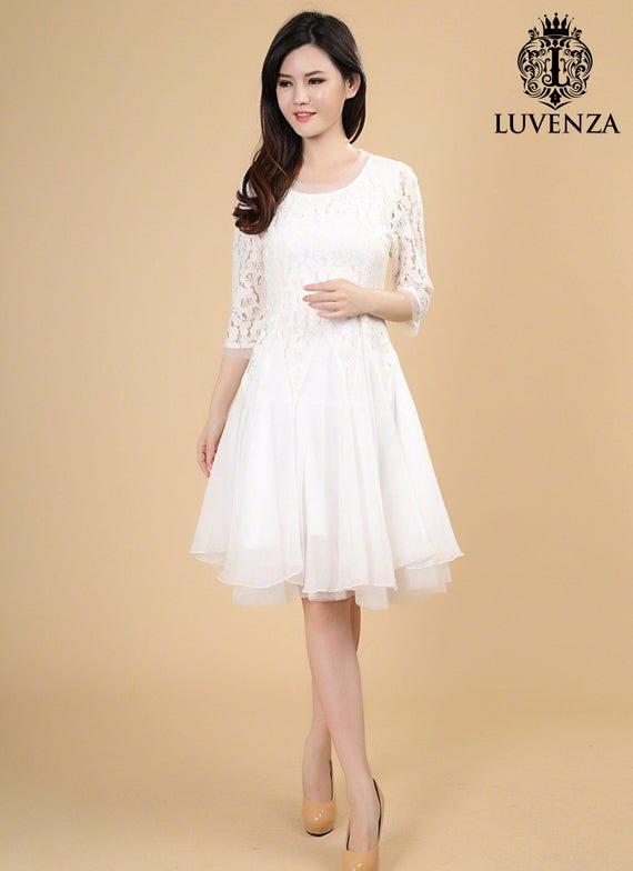 03c898176f0 White Lace Midi Dress Elbow Sleeve Lace Tea Dress Layered