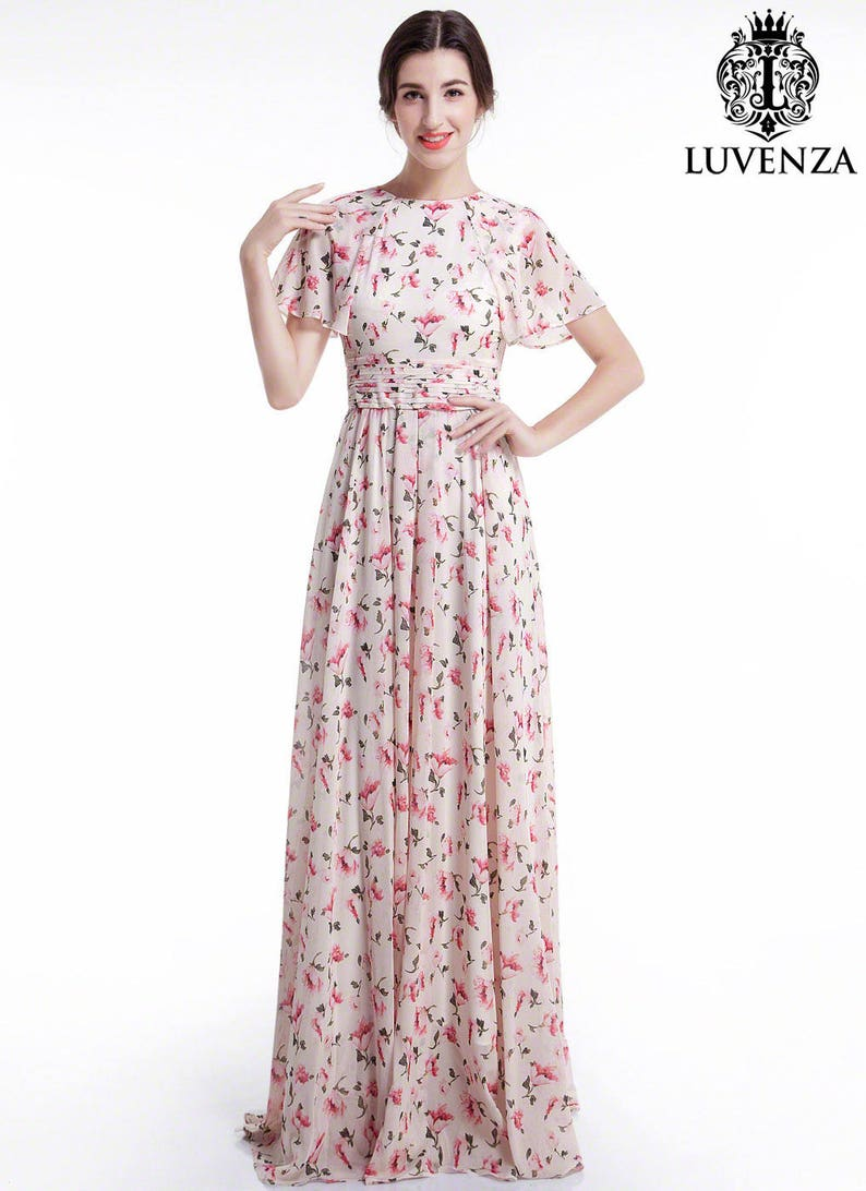 4458d7349ef Dusty Rose Pink Chiffon Floral Maxi Evening Dress  Floor