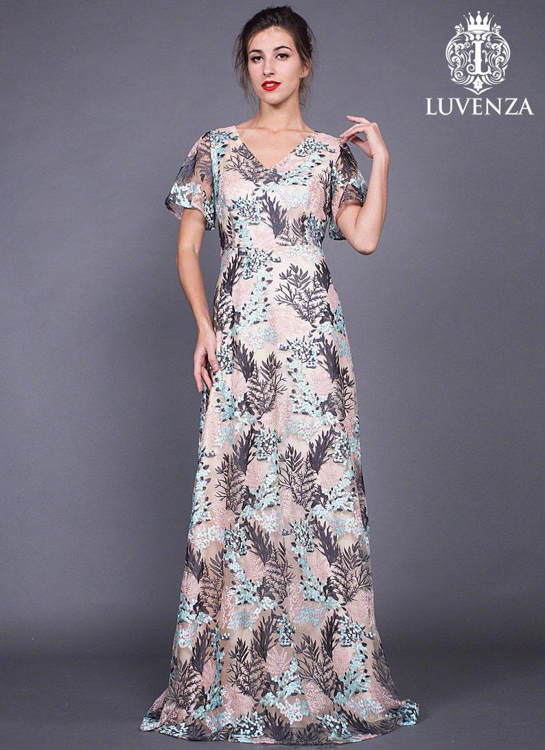 d1498b3e14 Nagie różowe koronki Maxi sukienka z trzepotanie rękawy-V szyi