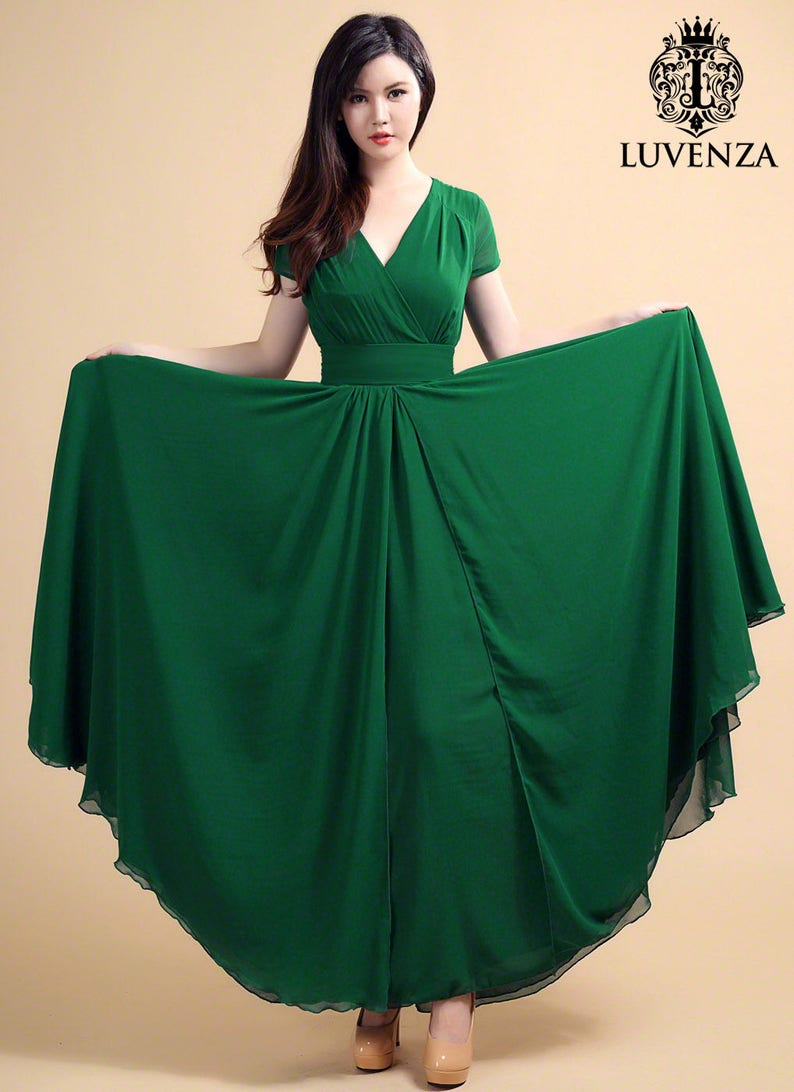 d470bd64468d Forest Green Maxi Dress with V Neck and Cap Sleeves   High
