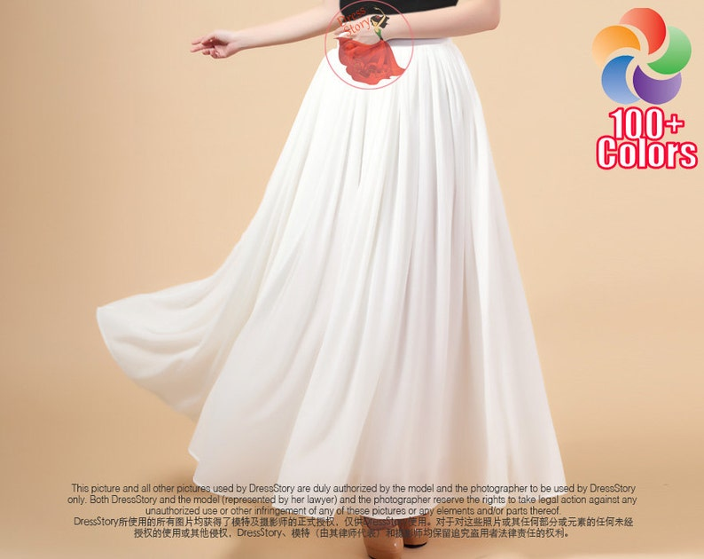 c6c4863c066 White Maxi Skirt with Wide Waist Yoke Long White Skirt image ...