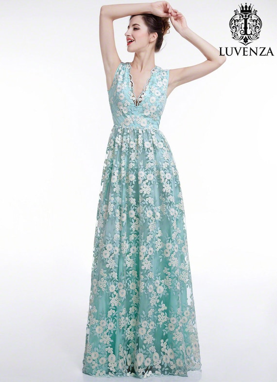 Aquamarine White Floral Embroidery Maxi Length Wedding Dress/