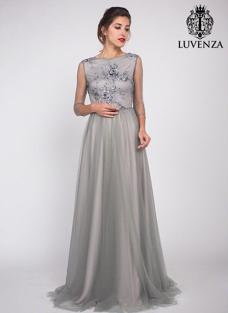 274e00a7fc Długość podłogi szare haft kwiatowy gorset suknia wieczorowa