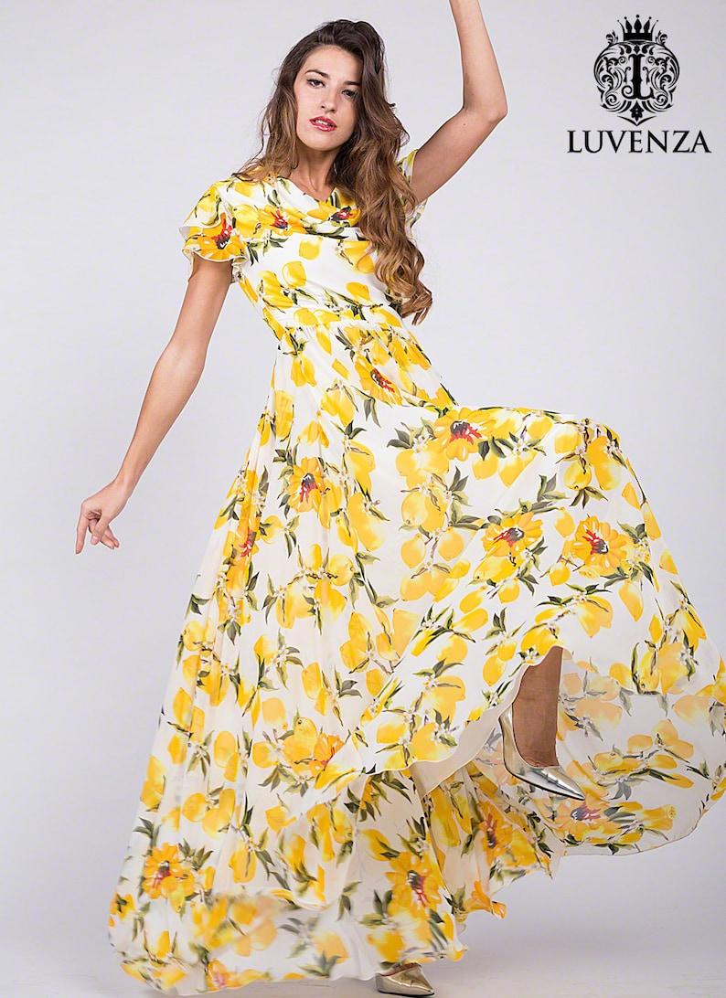 cf7f4ddf24c09f Gele bloemen Maxi jurk citroen Floral avondjurk citroen