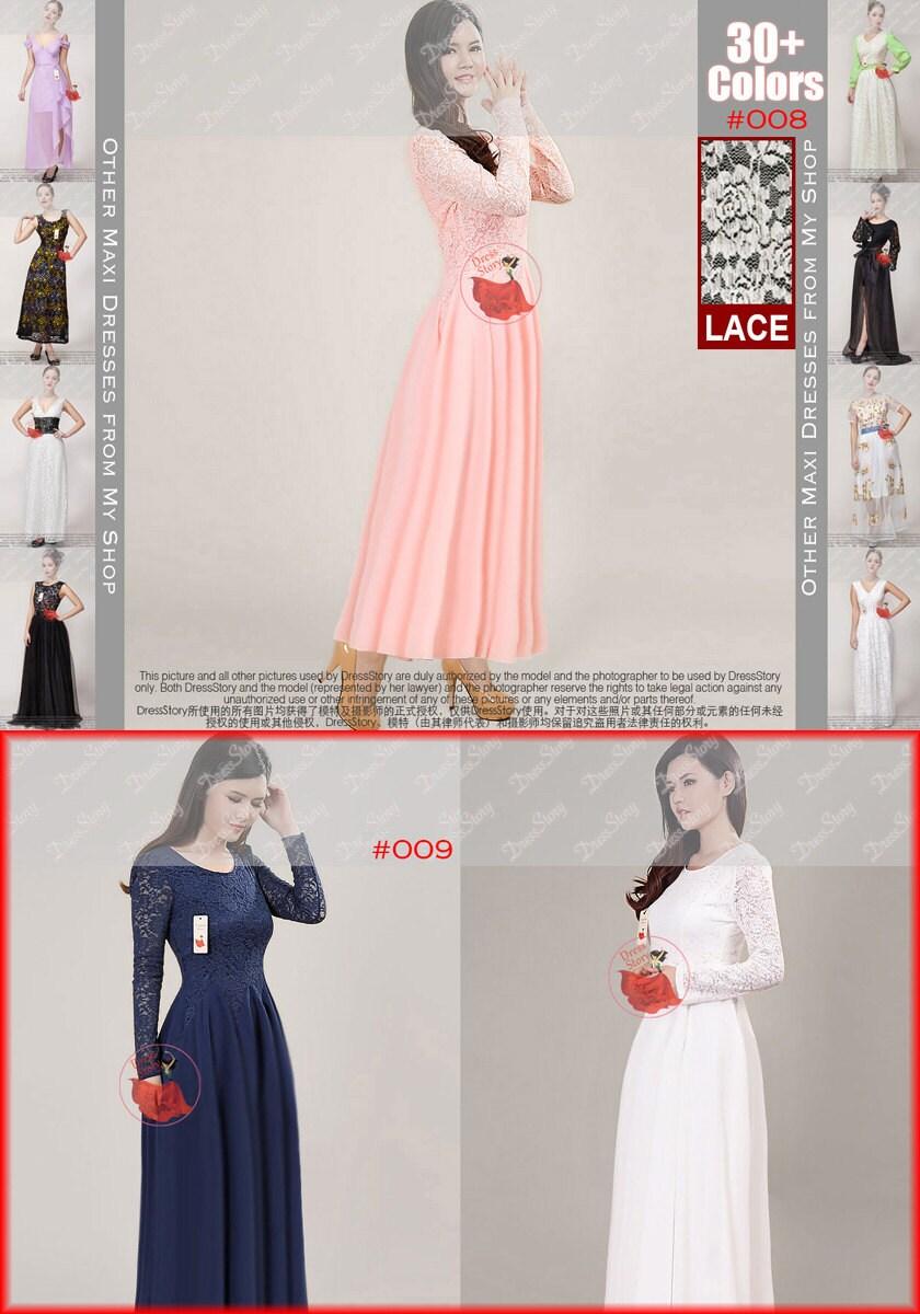 Lange Ärmel rosa Spitze Maxi-Kleid rosa Chiffon Maxi-Kleid