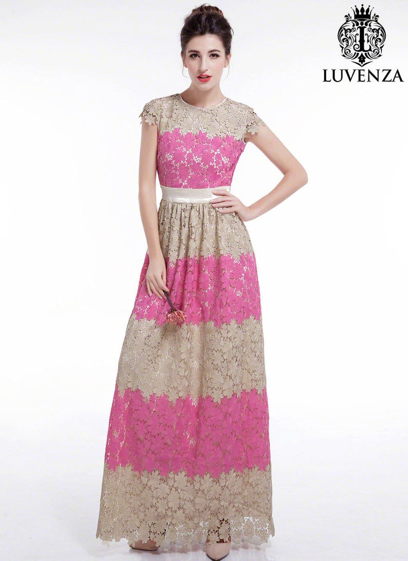 48f600ed867 Pink and Beige Lace Maxi Length Floral Lace Evening Dress